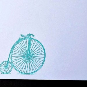 Gocco Printed Penny Farthing / Antique Bicycle Notecards (5 pack)