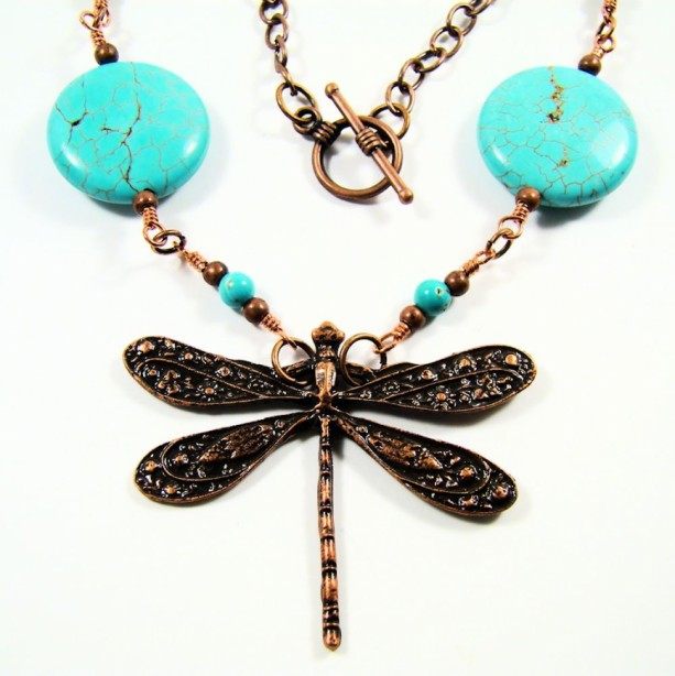 Turquoise and Copper Dragonfly Necklace