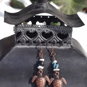 Handmade Bronze Sea Turtle Earrings with White Stones and Blue Beads Fish Hook Earrings
