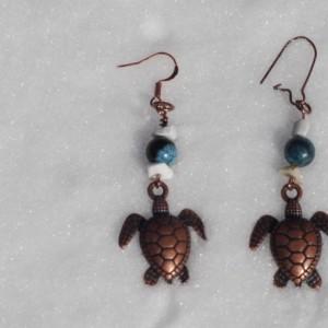 Handmade Bronze Sea Turtle Earrings with White Stones and Blue Beads Fish Hook Earrings