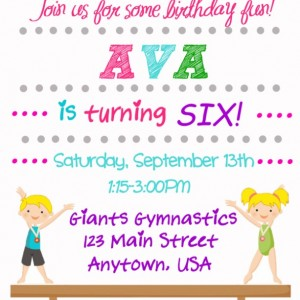 Gymnastic birthday invitation, printable invitation, gymnastic