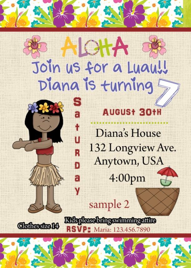 Luau Invitation Birthday Invitations