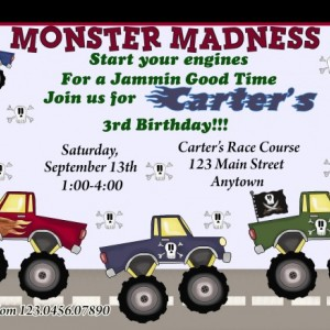 Monster Truck Invitation, Birthday, Invitations, Monster Trucks, Cars