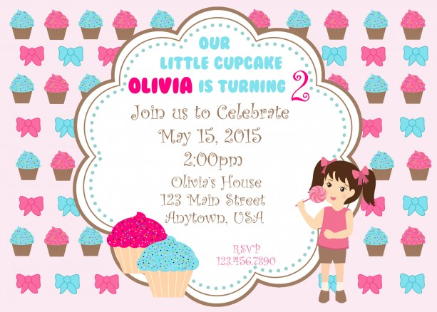 Cupcake Birthday Invitation, Cupcakes, Birthday, Invitation