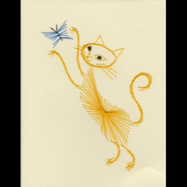Embroidered Yellow Cat/Blue Butterfly Card Set