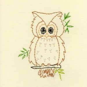 Hand Embroidered Little Owl Greeting Card Set