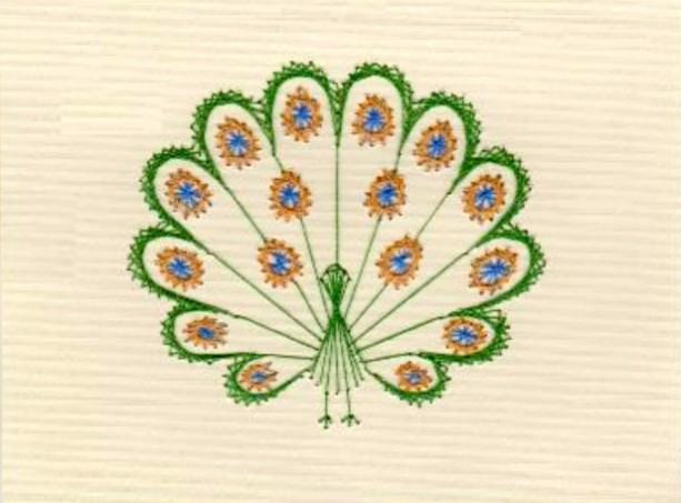 Set of Embroidered Peacock Greeting Cards