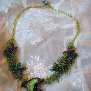 Green Lampwork Dolphin Starfish Ocean Coral Reef Jellyfish Clasp Necklace