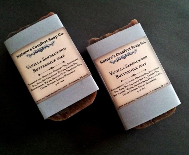 Vanilla Sandalwood Buttermilk Soap w/ Oatmeal 2 BARS