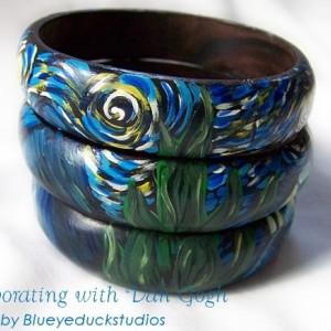 [SOLD] Hand Painted Bracelet Van Gogh Starry Night Bangle Set Original folk ART painting wood Cuff Bracelet 3 puzzle bangles