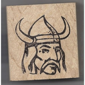 Viking Head Man in Helmet rubber stamp scandinavian