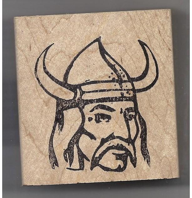 Viking Head Man in Helmet rubber stamp scandinavian