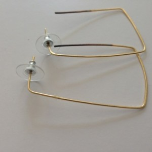 Handcrafted gold rectangular earrings 18.00