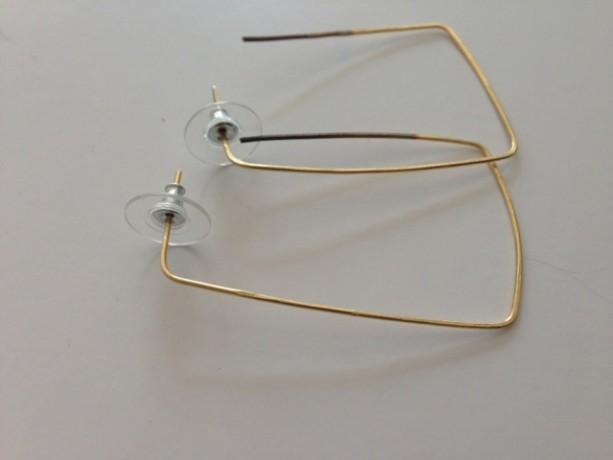 Handcrafted gold rectangular earrings 18.00