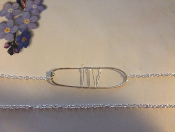 Oval Rectangle chain sterling silver pendant