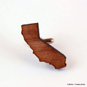 Laser Cut Walnut Cufflinks - State of California