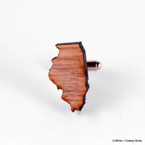 Laser Cut Walnut Cufflinks - State of Illinios