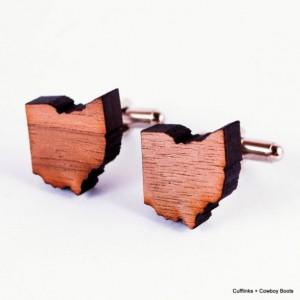 Laser Cut Walnut Cufflinks - State of Ohio