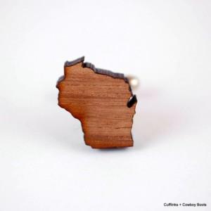 Laser Cut Walnut Cufflinks - State of Wisconsin