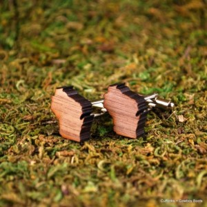 Laser Cut Walnut Cufflinks - State of Wisconsin