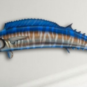 "14"" Wahoo Salt Water Game Fish Replica, Wall Mount, Decor, Nautical Art, Gift"