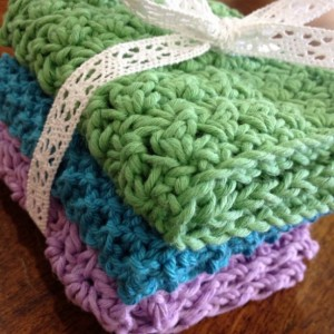 Hand Knit and Crocheted Cotton/Hemp Washcloth Set or Dishcloth Set