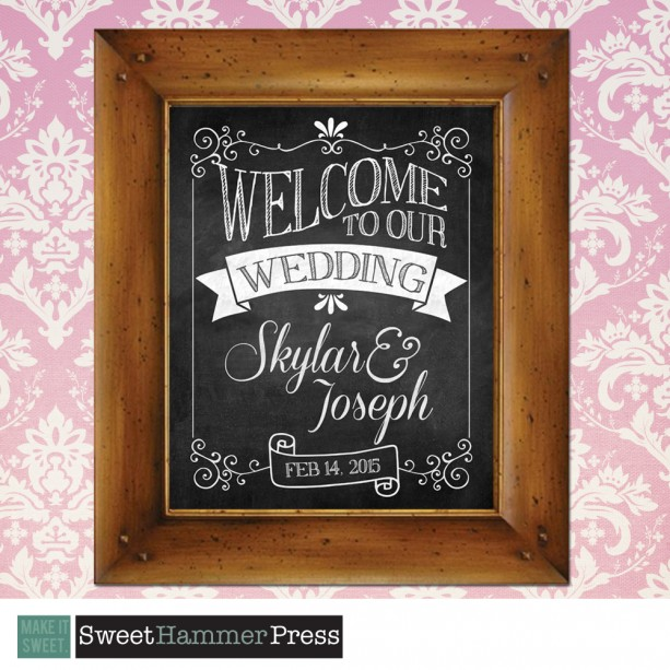 welcome to our wedding chalkboard sign  customized for you  8 x 1