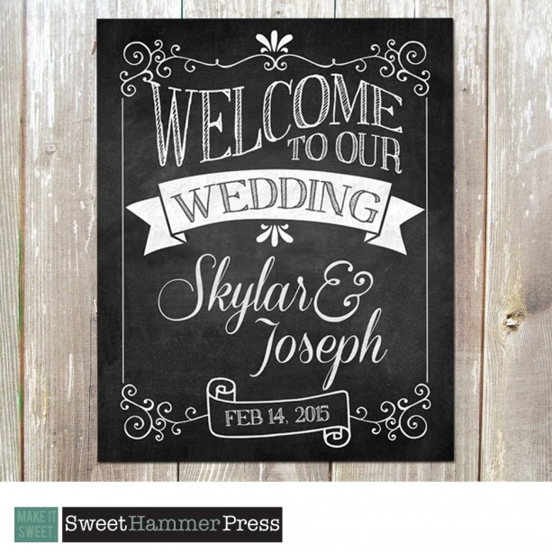 Welcome to Our Wedding Chalkboard Sign. Customized for you. 8 x 10.