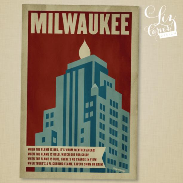Milwaukee Gas Light Retro Poster Print