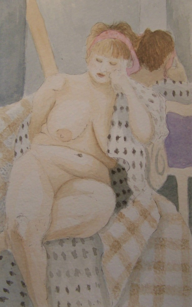 Woman with Pink Headband - Original Watercolor