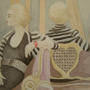 Woman with Red Watch - Original Watercolor