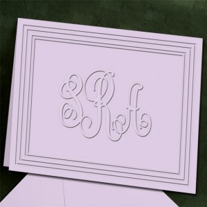 Classic Frame Monogram Foldover Note Cards, Personalized, Embossed Stationery (Stationary) (WRT440)