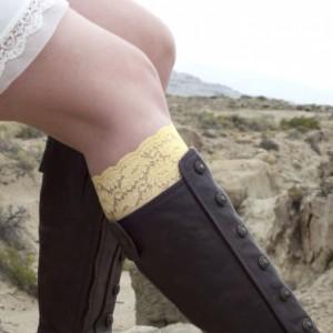Yellow Lace Boot Cuffs
