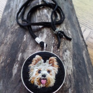 Yorkie Hand Embroidered Necklace