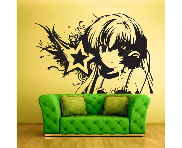 Wall Vinyl Sticker Decals Decor Art Bedroom Design Mural Design Anime Girl Star Music (Z427)