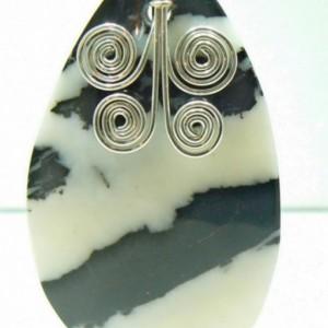 Zebra Jasper Pendant with Handmade Spiral Bail